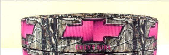 3 Yards of Pink Chevy Camo 7/8 grosgrain ribbon by Softba11Bows
