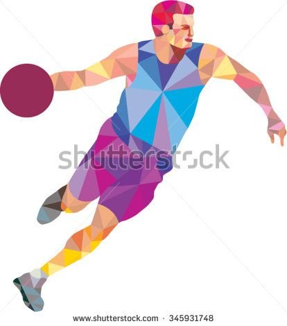 Low polygon style illustration of a basketball player dribbling ball looking to the side viewed from front on isolated white background. - stock vector #basketball #lowpolygon #illustration