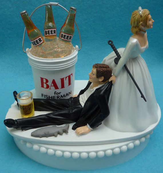 Wedding cake topper fishing beer bait fisherman fish pole for Fishing cake toppers