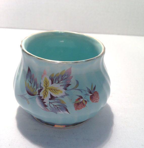 Vintage blue Sadler open sugar turquoise leaves flowers