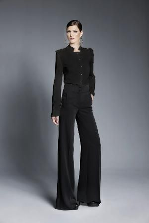 Sumptuous fabric gives the blouse a cool, elegant look.