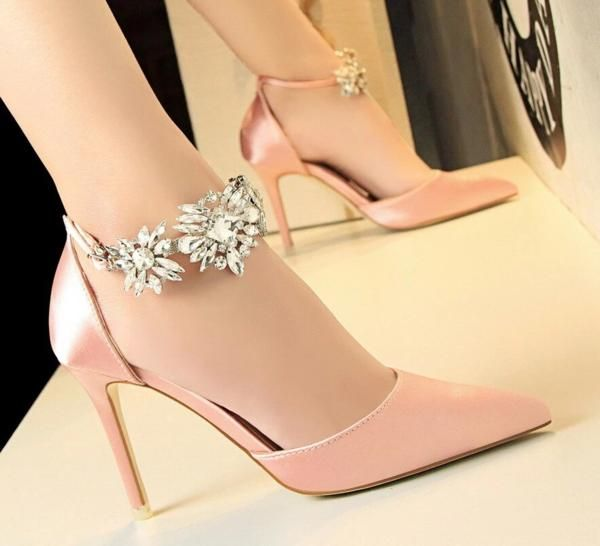 Rhinestone Strap Wedding Shoes Pink High Heels Prom Heels Bridesmaid Shoes