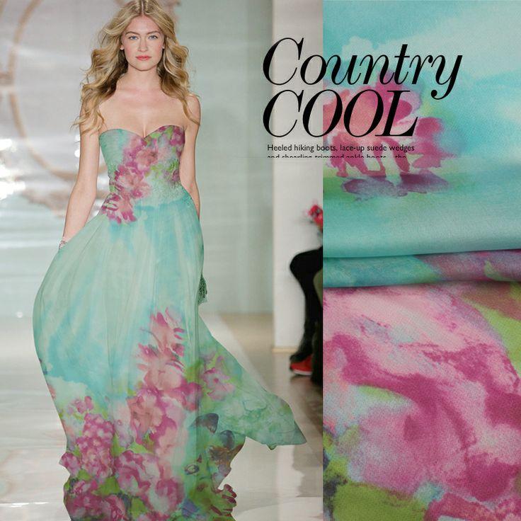140cm wide 6mm pink flower print green blue dress jumpsuit silk chiffon fabric material US $16.50
