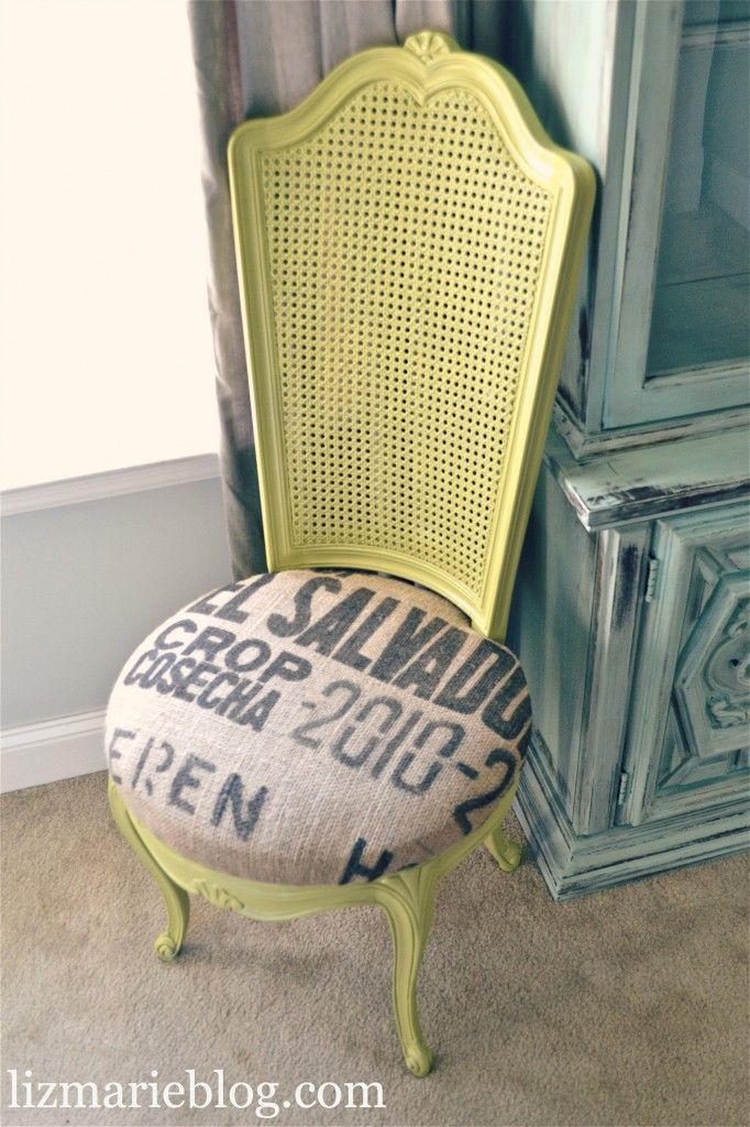 green chair with coffe sack
