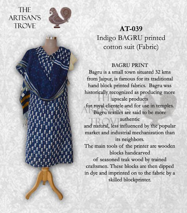 We are manufacturers & wholesalers of rich indian printing salwaar suits and dupattas, like Bagru, Ajrakh etc Rs 1650/-
