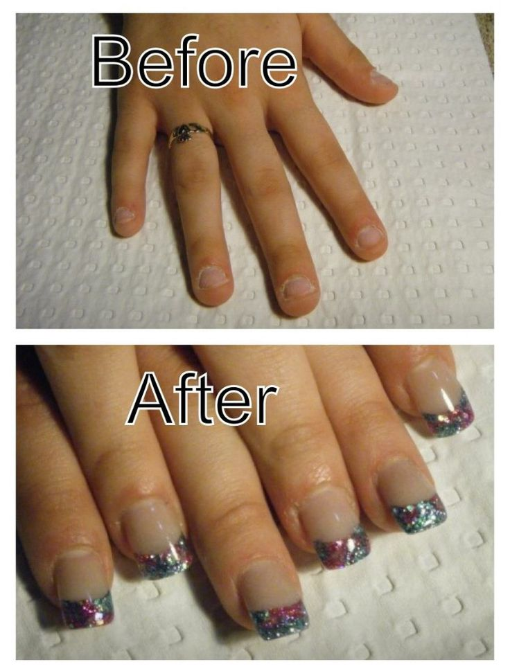 Short nail beds made to look longer with opaque acrylic.