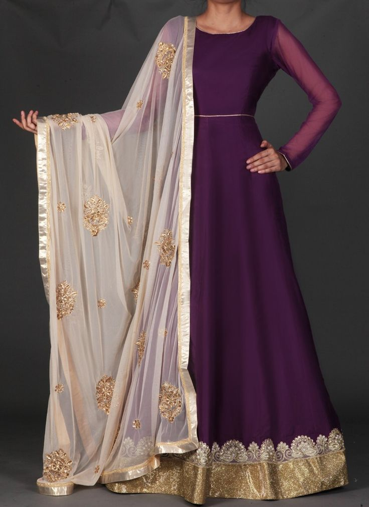 Deep Purple and Golden Beige Embroidered Anarkali