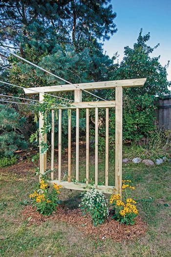"""Plans for a Multi-Purpose Garden Trellis"" Use these garden trellis plans to build a clothesline trellis that serves double duty, or skip the clothesline and use your trellis to shade a comfortable garden bench."