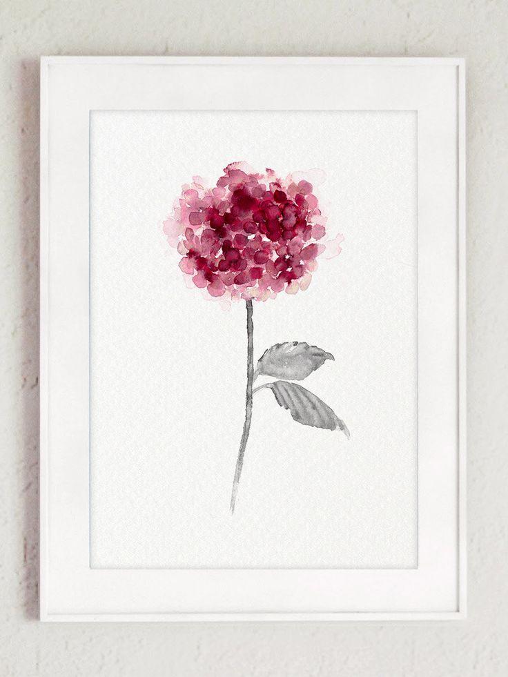 Rose hortensia Set 2 Shabby Chic décor par ColorWatercolor sur Etsy