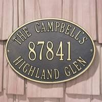 """Whitehall Hawthorne Oval Standard Wall Address Plaque One Line Version by Whitehall. $89.99. One Line Version: Line 1 holds up to five 3"""" numbers **One Line Version represents middle line only**"""