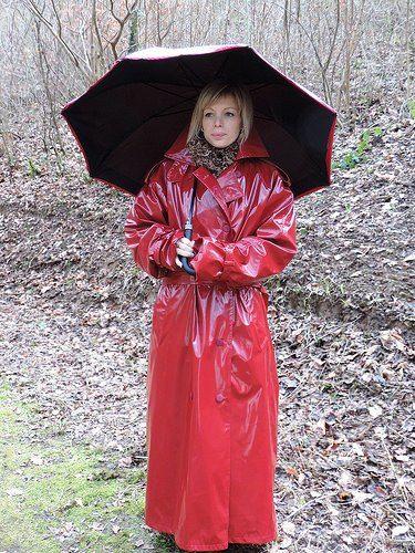 Red Pvc Mac With Umbrella Capes And Coats Pinterest