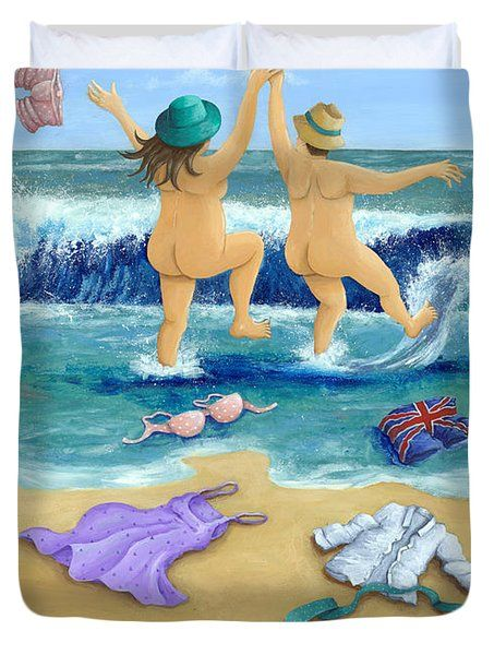 Skinny Dippers Duvet Cover by Peter Adderley