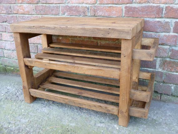 Rustic shoe rack with seat and umbrella by CaptainsCraftworks