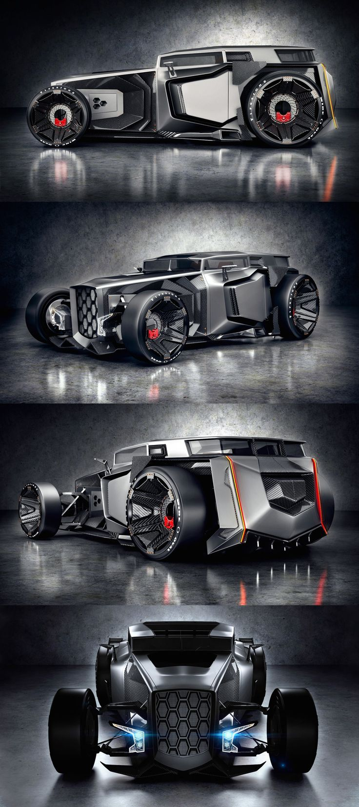 Now that Lambo is a million miles from their normal look , obviously a type of 'Rat rod ' on speed to facilitate speed 0 to 100 at light speed similar to the Star Wars special effects of blurred out stars as travel so amazingly fast , but only suited to straight line drag racing format as Rat rod specialist machine , but memorable , very memorable #conceptcars