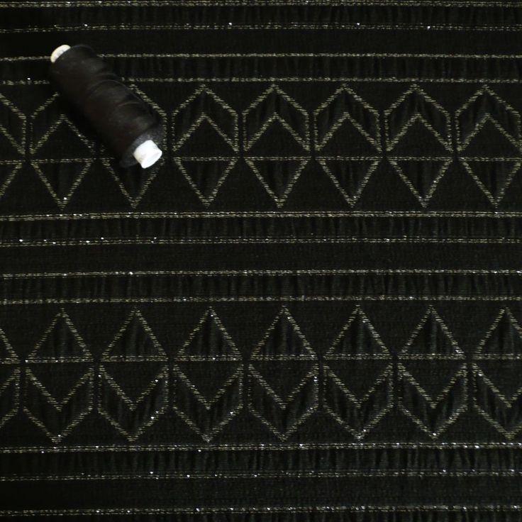 Silver & Black Jacquard Woven Fabric With geometric zig zag chevron lurex yarn in Crafts, Sewing & Fabric, Fabric | eBay