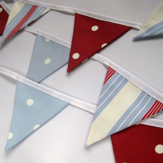 Handmade New England Style Fabric Bunting in Red, Cream and Blue Stripes & Spots £9.00