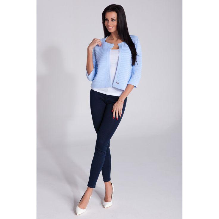 Sacou albastru dama tricotat chic  #sacoudama #office #chic