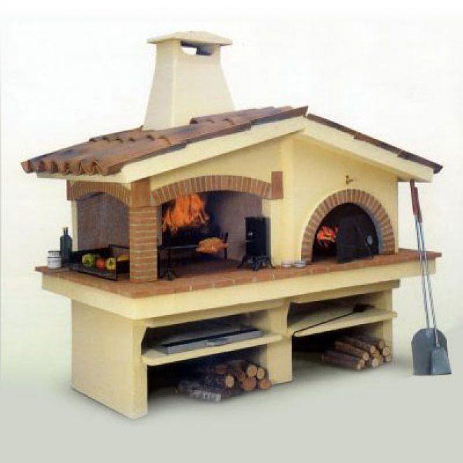 Barbecue con forno prodotto da Focolare modello eden: comodo per cucinare in vari metodi. Utilizza il forno o il focolare accanto, con parete in refrattario per riparati dal calore durante la cottura. Dettagli in mattoncini. Ideale per il tuo giardino