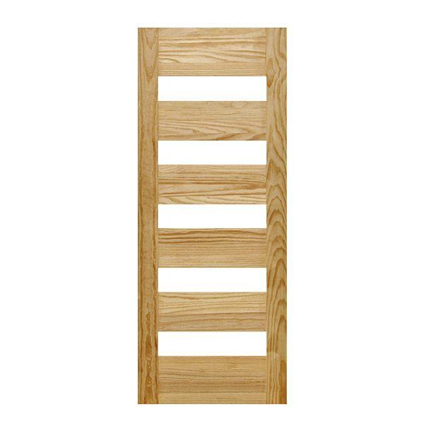 Puerta madera 100% de pino para uso interior. Resistente y duradera con 5 vidrios templados. Color natural. 100% sólida. 35 mm de espesor. Medida .91 x 2.13 m. Para interior.