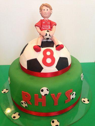 Soccer Liverpool football club fan birthday cake