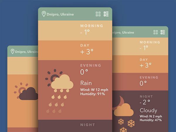 Weather Mobile App UI for Inspiration