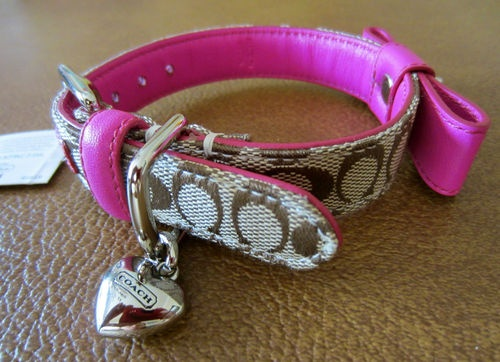 Coach Dog Collar Heart Charm Pink Leather Bow Turnlock Signature C XS NEW | eBay