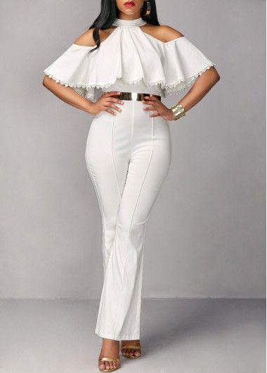 Overlay Embellished Cold Shoulder White Jumpsuit Rosewe