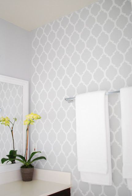 simple gray and white bathroom with pattern. 17 Best ideas about Bathroom Wallpaper on Pinterest   Bath powder