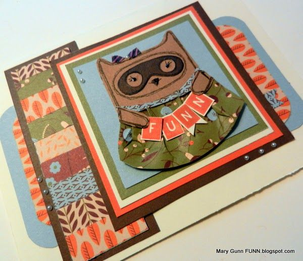 Mary Gunn FUNN - video shows how to make this little owl turned raccoon card featuring use of small fall colored scraps for a big look. Features Pathfinding paper pack from Close To My Heart and stamping.