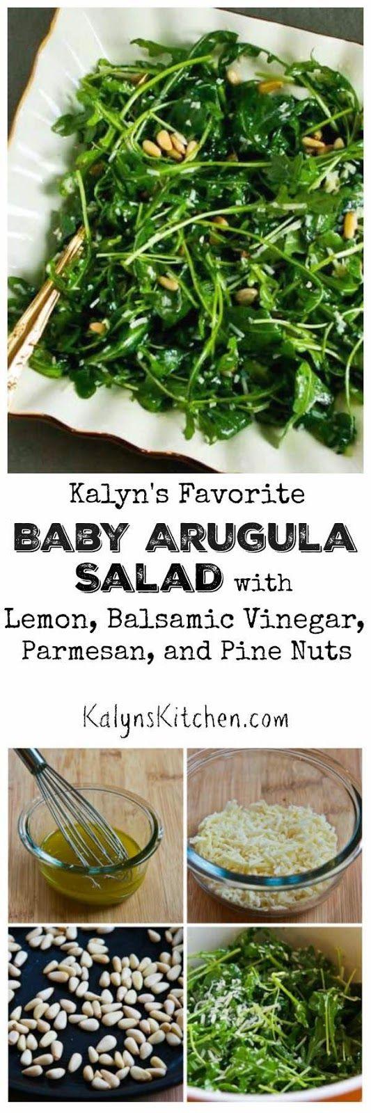 Baby Arugula Salad with Lemon, Balsamic Vinegar, Parmesan, and Pine Nuts [found on KalynsKitchen.com]