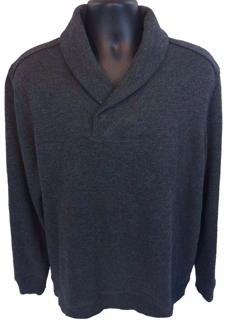 BANANA REPUBLIC Men's Shawl Collar Sweater Size XL Gray Cotton Blend X-Large