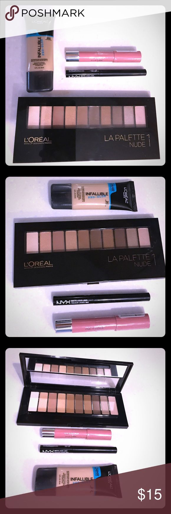 🌸🌸Bundle🌸🌸 L'Oréal, NYX & Revlon Perfect Bundle of Makeup! L'Oréal Nude Palette 1, L'Oréal Pro Glow Foundation in Creamy Natural 202, NYX Liquid Liner in Black/Noir and Revlon Balm stain in Honey. (Only used eye shadow once) everything else brand new. L'Oreal Makeup Eyeshadow