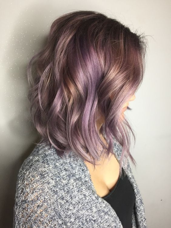 Medium Curly Hairstyle with Smokey Lavender Hair Color - Medium Haircuts for Women 2017