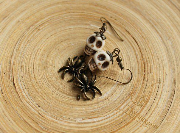 Ручная работа серьги. hand made черепа пауки скелет calavera