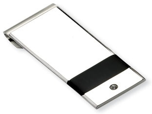 Men's Stainless Steel Black Rubber CZ Money Clip Holder Available Exclusively at Gemologica.com