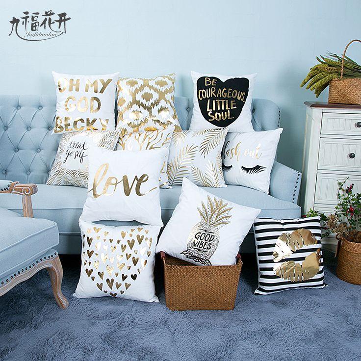 Jiufuhuakai Linen Gilding Square Plain Knitted Letter Soft Superior Quality Hidden Zipper Pillow Home Car Cushion Cover 45*45cm