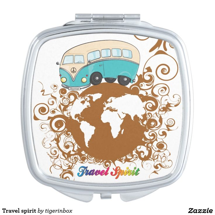 Travel spirit Square compact makeup mirror. This illustration is a kinda of homage to the freedom spirit of Sixties and Seventies: a simple bulli minivan was enough to travel the world.