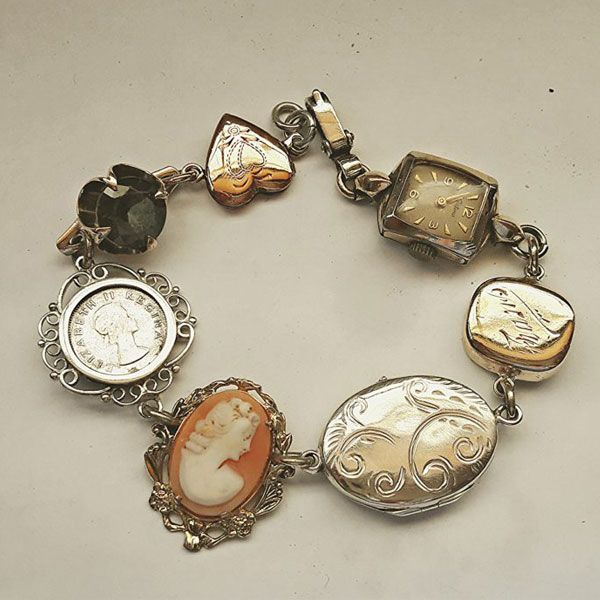 Antique bracelet using old inherited jewellery pieces