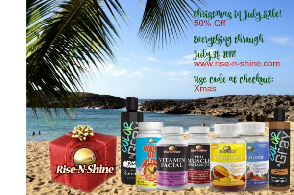 Looking to treat yourself to a gift? Or to get a head start on holiday shopping? Now is the time with Rise-N-Shine's Christmas in July sale! Enjoy 50% off of everything on our website now through July 31! Use code Xmas at checkout! www.rise-n-shine.com #natural #vitamins #minerals #aminoacids #herbs #nutritionalsupplements #shampoo #conditioner #haircare #haircareproducts #skincare #skincareproducts #gummyvitamins #weightloss #digestion #focus #energy #sleep #madeinusa #madeinamerica…