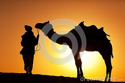 A silhouette of a man and a camel. Desert Festival, Jaisalmer, India