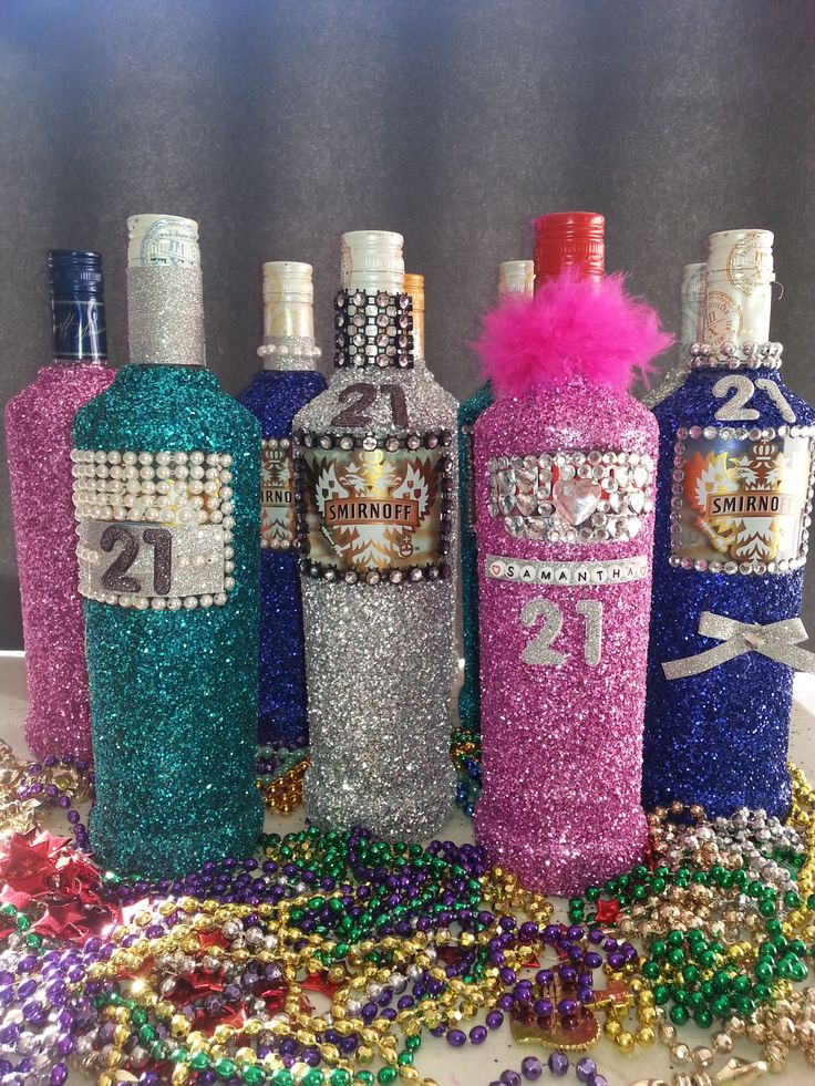 Glitter Bottles for a 21st Birthday Party