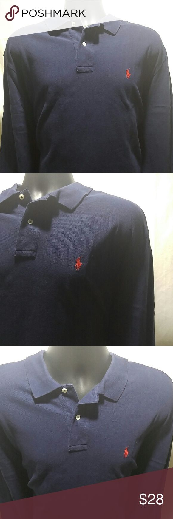 POLO BY RALPH LAUREN Navy Blue Polo Shirt Size XL POLO BY RALPH LAUREN Navy Blue POLO shirt.  This shirt is long sleeved, and a size XL.  This POLO BY RALPH LAUREN Polo Shirt is in excellent condition. Polo by Ralph Lauren Shirts Polos