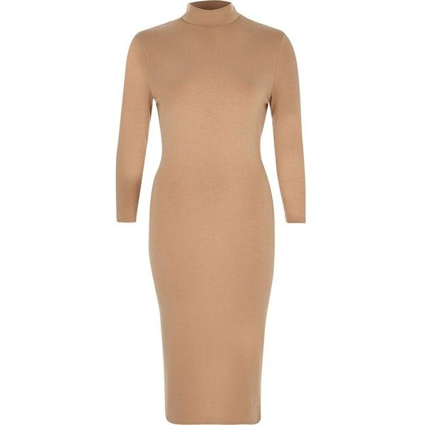 River Island Camel turtle neck bodycon dress ($64) ❤ liked on Polyvore featuring dresses, bodycon dresses, women, knee length cocktail dresses, body con dress, tall dresses, bodycon cocktail dress and long sleeve cocktail dresses