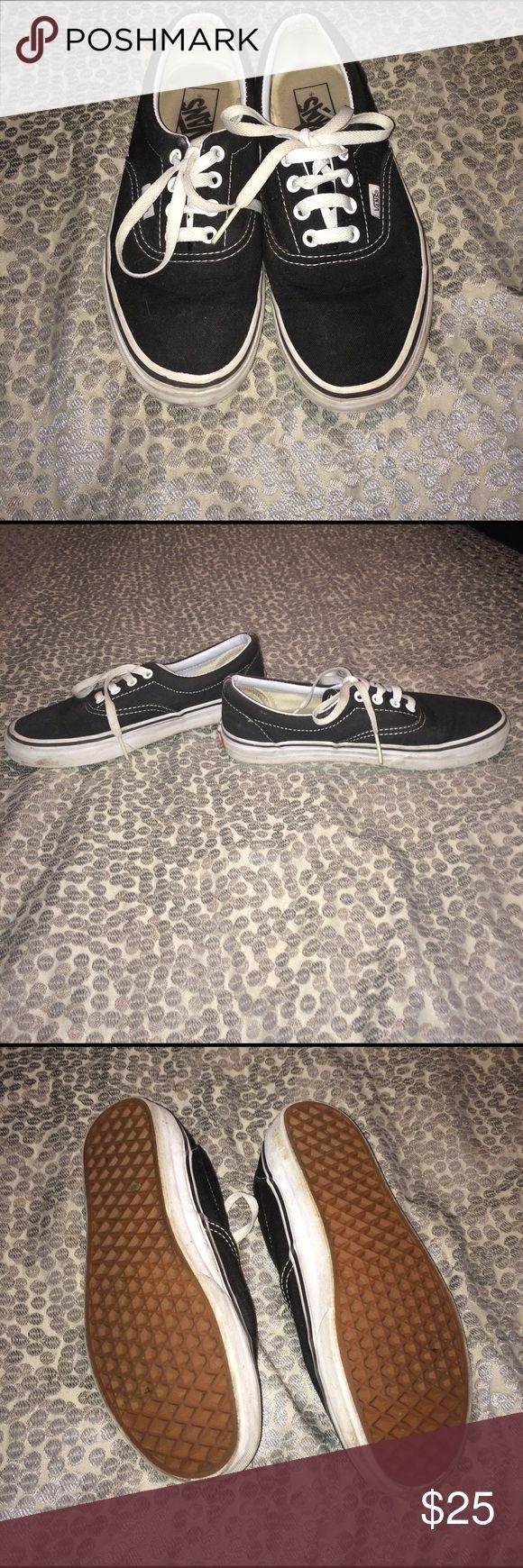 Black vans shoes lo cut Black lo cut Vans worn a few times,alittle dirt on edges but can be cleaned! Womens size 7.5 men's size 6! Vans Shoes Sneakers