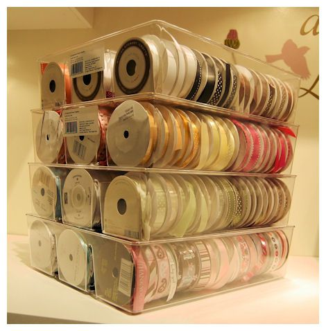 Ribbon Storage - from Target, in the closet section. It is called a 3 Compartment Drawer Organzier