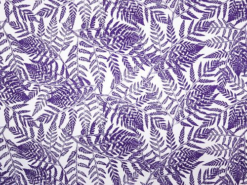 Fern Gully in Iris on White - Spring time onto fabric