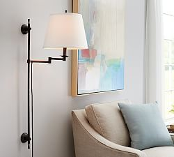 Wall Sconces & Wall Lamps | Pottery Barn - Guest Room either side of bed mounted on built-in
