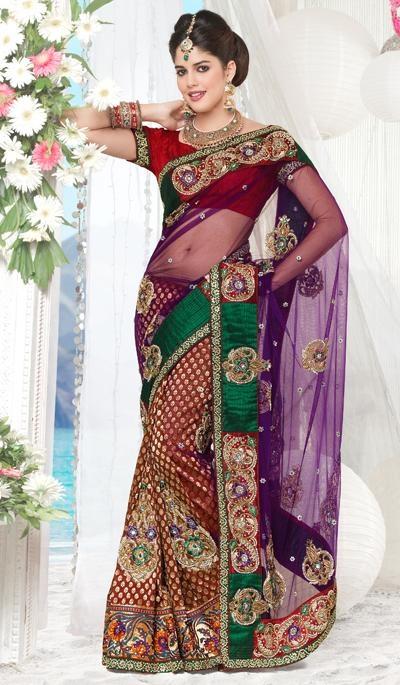 Purple Maroon Net Viscose  Wedding Wear Designer Saree.