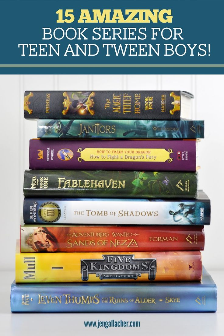 15 Amazing Book Series Suggestions for Tween and Teen Boys from www.jengallacher.com.