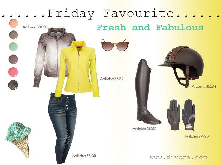 #friday #favourites van #divoza. Samengesteld door onze collega in week 17, April 2015. #fresh and #fabulous als #thema #ruitersport #paard #mode #musthaves www.divoza.com